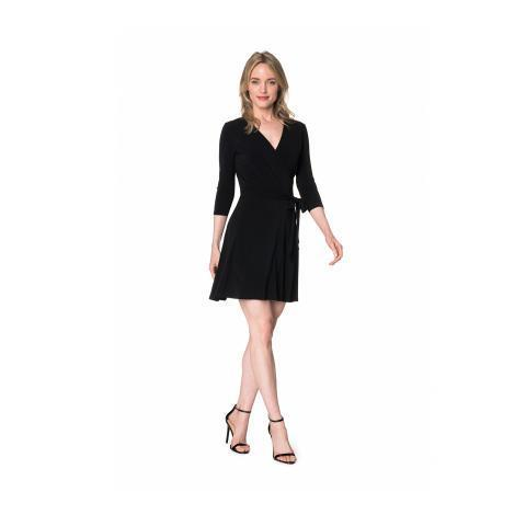 Wrap Dress | Solid Perfect Wrap in Black Crepe – Leota