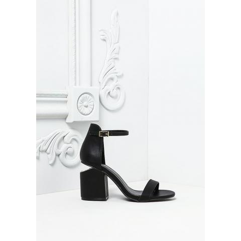 Black Leatherette Short Stacked Heels - Shoes & Bags - Sale