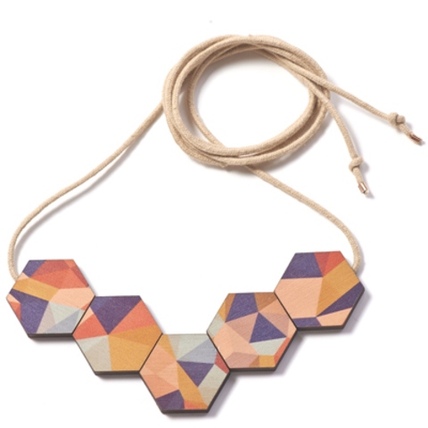 Printed Wooden Fractal Necklace  -autumn