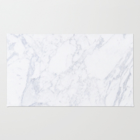 White Marble Area & Throw Rug by Not Happy Not Sad | Society6