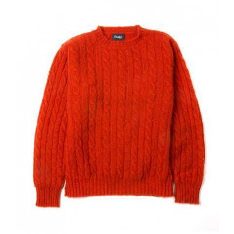 Orange Brushed Shetland Cable Knit Lambswool Crew Neck Jumper | Drake's