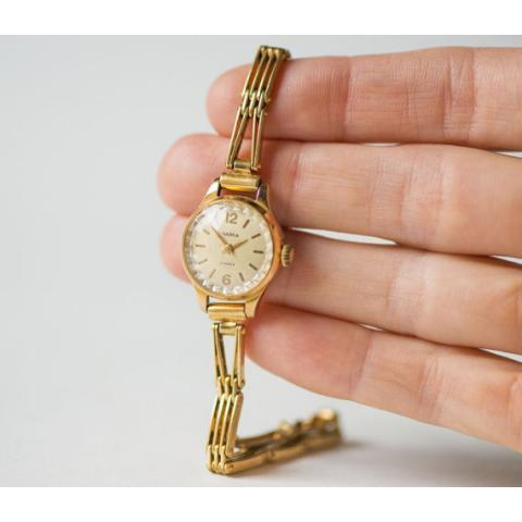 Vintage watch bracelet for women Seagull gold plated par SovietEra