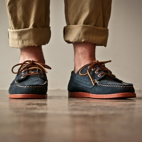 Oak Street Bootmakers | Navy Suede Red Brick Sole Trail Oxford - Footwear