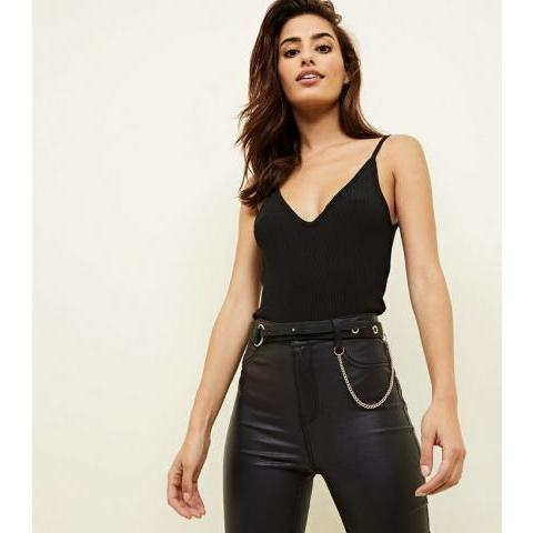 Black Eyelet Drape Chain Belt | New Look
