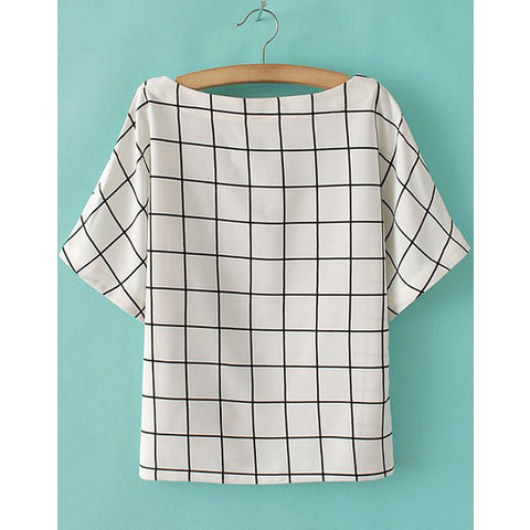 Batwing Plaid White Blouse