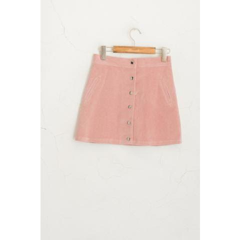 Button Down Mini Skirt, Pink