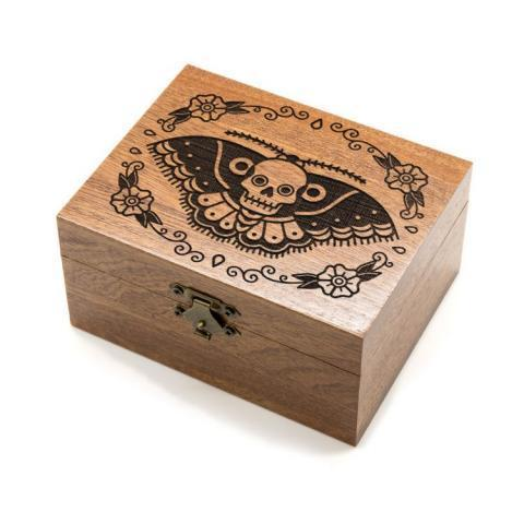 Butterfly Skull - Wooden Jewellery Box | UK Custom Plugs - Ear Gauges, Flesh Tunnels for Stretched Ears