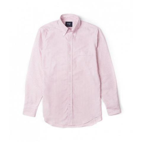 Red Ticking Stripe Regular Fit Shirt with Button Down Collar | Drake's