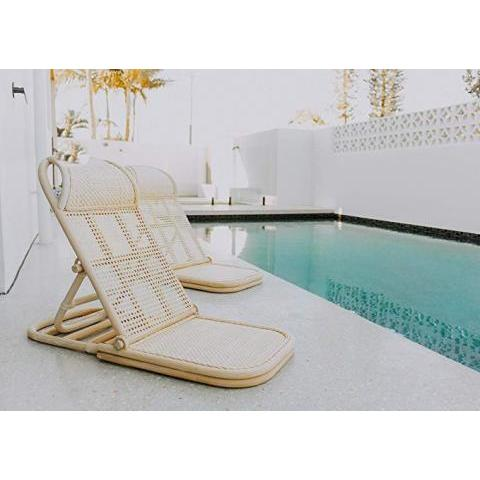 Amazon.com : Wild in Bloom, Folding Beach Chair, Beach Chair, Rattan Lawn Chair, Floor Chair, Wood Chair, Pool Lounger, Portable Wicker Beach : Sports & Outdoors