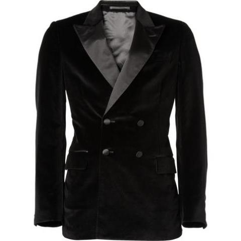Yves Saint Laurent Double-Breasted Velvet Blazer | MR PORTER