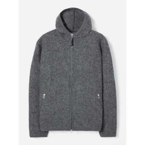 Universal Works Surfer Hoodie in Charcoal Wool Fleece
