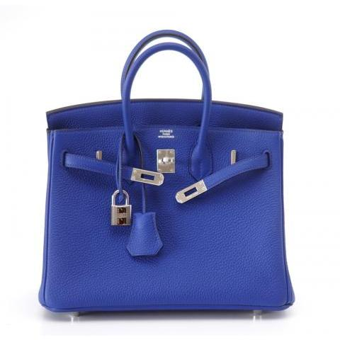 HERMES BIRKIN 25 Blue Electric vivid jewel at 1stdibs