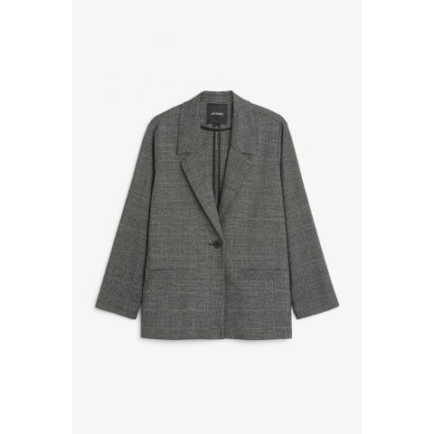 Long blazer - plaid monochrome - Manteaux & vestes - Monki FR