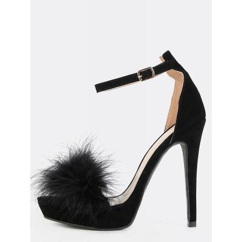 Platform Feather Heels BLACK -SheIn(Sheinside)