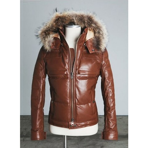 Mens discount Slimfit Detachable Raccoon Fur Hooded Lambskin Down Jacket at Fabrixquare