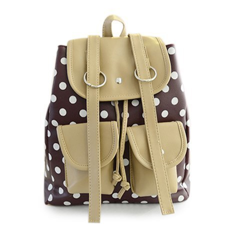 Casual Women's Satchel With Dots and Color Block Design (BROWN) | Sammydress.com