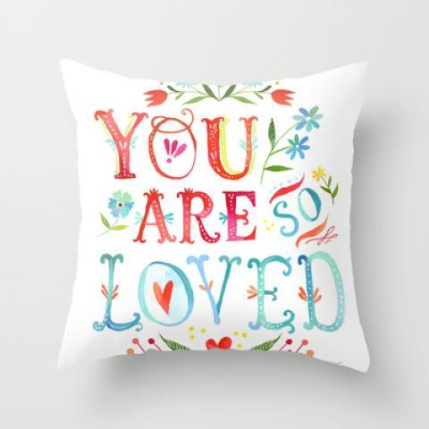 So Loved Throw Pillow by Katie Daisy | Society6