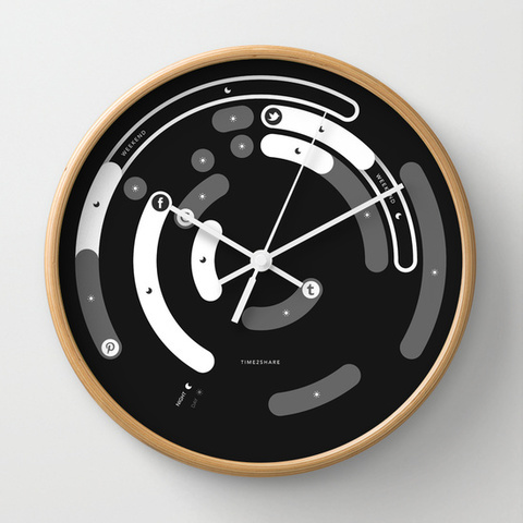TIME2SHARE Wall Clock by Creativ7 | Society6