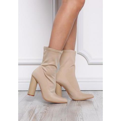 Nude Sock Ankle Boots - New