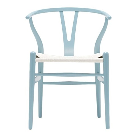 Chaise Wishbone Bleu Clair/Assise Corde de Papier Tisse - Carl Hansen - Chaises - Chaises & fauteuils - Meuble - The Conran Shop FR