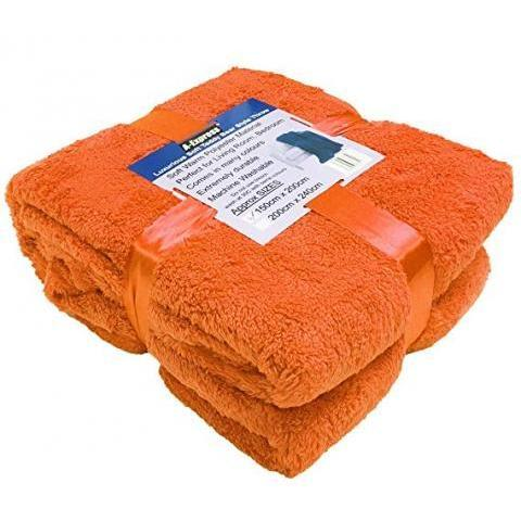 A-Express chaude Orange 200cm x 240cm Doux Confortable Teddy Sherpa Couverture Polaire Throw Plaid: Amazon.fr: Cuisine & Maison