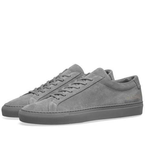 Common Projects Original Achilles Low Suede Cobalt Grey | END.
