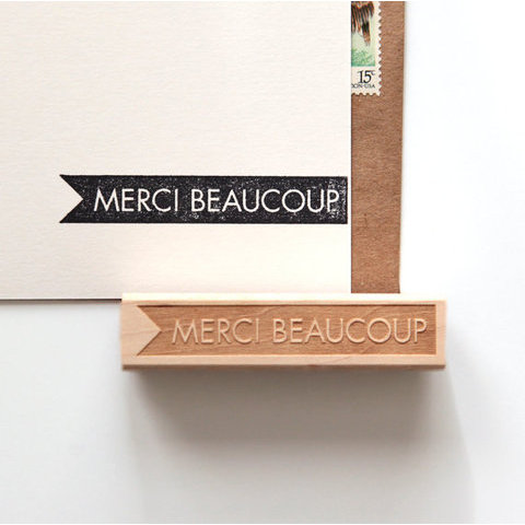 Merci Beaucoup Thank You Rubber Stamp en par HunterandCoDesigns