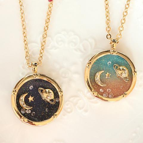 Harajuku Fantasy universe planet Saturn moon diamond the long necklace sweater chain on Storenvy