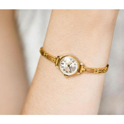 Vintage women's watch bracelet Seagull gold plated woman