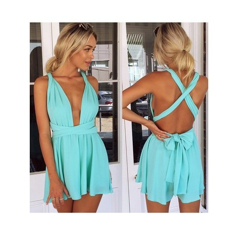 Sexy Fashion Jumpsuits Deep V-neck Straps Siamese Shorts with Open Back - WSDear.com