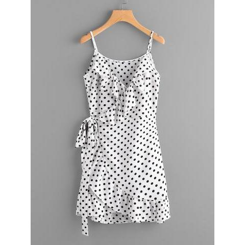 Polka Dot Wrap Self Tie Waist Frill Cami Dress -SheIn(Sheinside)