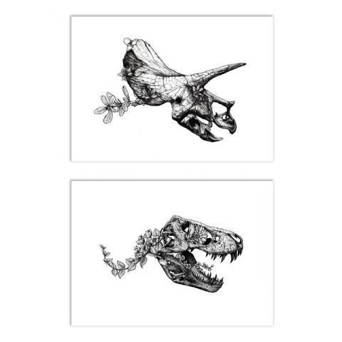 2 affiches 30x40 cm dinosaur skullheads  noir Wall Editions | La Redoute