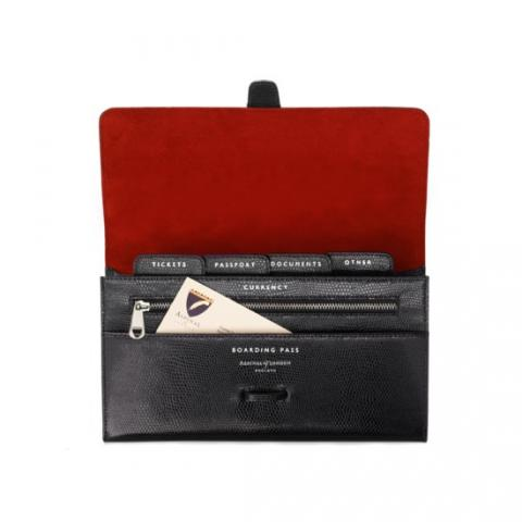Buy The Aspinal Classic Travel Wallet In Jet Black Lizard & Red Suede