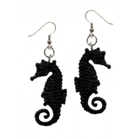 Sea Horse earrings black