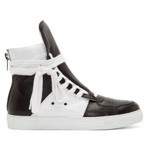 Fancy - Black & White Leather High Top Sneakers by Krisvanassche