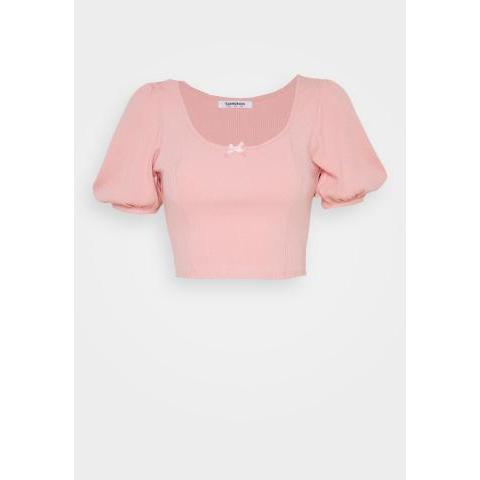 Glamorous BOW FRONT SCOOP CROP TOP WITH PUFF SHORT SLEEVES - T-shirt imprimé - peachy pink - ZALANDO.FR