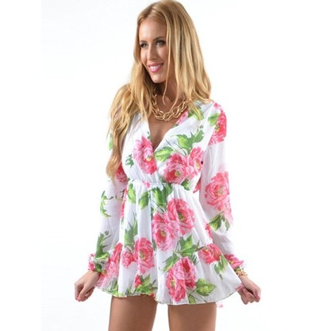 White Flowers Printed V-neck Jumpsuits Sexy Siamese Shorts - WSDear.com