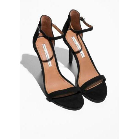 Suede Two Strap Sandals - Black - Heeled sandals - & Other Stories