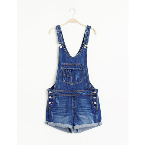 Salopette short en jean medium blue - Jennyfer e-shop