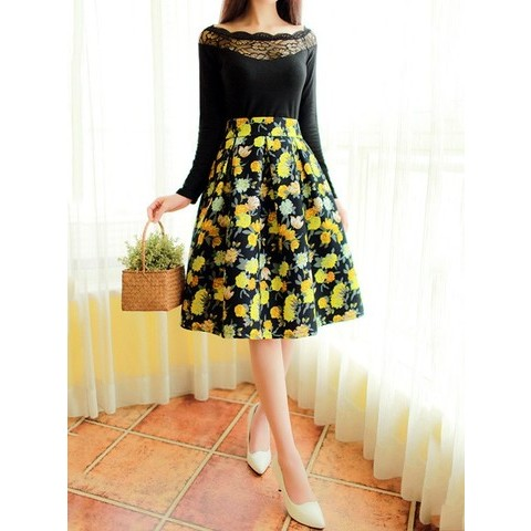 Vintage Audrey Hepburn Style Retro Yellow Flowers Printed Pleated Bust Skirt - WSDear.com