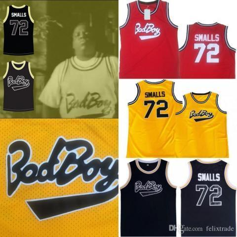 3ced9d3427a7 2019 Biggie Smalls Bad Boy  72 Notorious B.I.G. Basketball Jersey Red  Yellow Black Stiched Name
