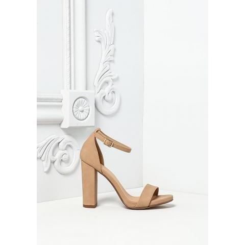 Natural Leatherette Ankle Strap Heels - Heels - Shoes