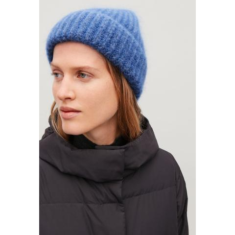 FUZZY RIBBED-WOOL HAT - Sky blue melange - Hats, Scarves & Gloves - COS