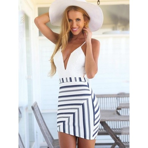 White Deep V-neck Lace Stitching Striped Party Bodycon Harness Dress - WSDear.com