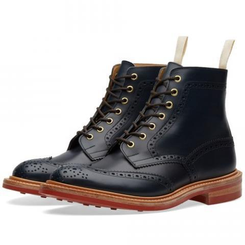 END. x Tricker's Club Sole Stow Boot (Navy & Red)