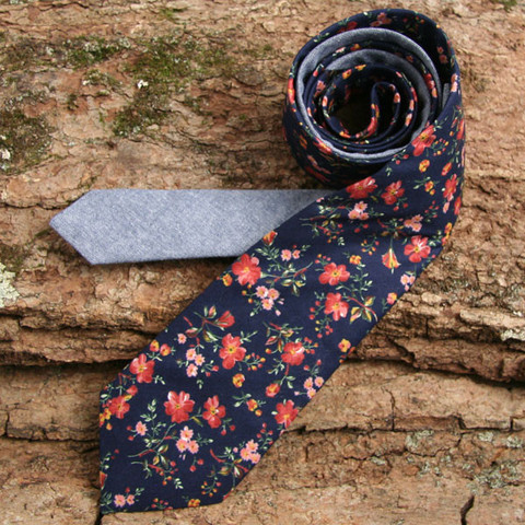 Deadstock Navy Floral & Navy Chambray Necktie - Handmade Vintage Ties, Bow Ties, Pocket Squares, Bandanas, and Men's Furnishings - General Knot & Co.