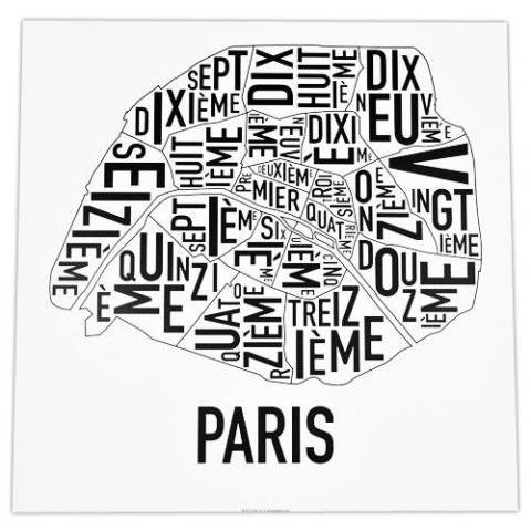 Paris Arrondissements Map 18″ x 18″ Classic Black & White Poster – City Neighborhood Maps & More