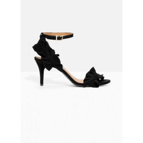 Frill Two-Strap Sandals - Black - Heeled sandals - & Other Stories