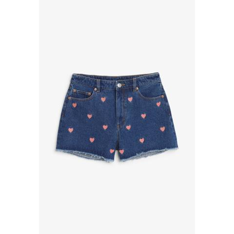 High waist denim shorts - Blue Dark - Monki