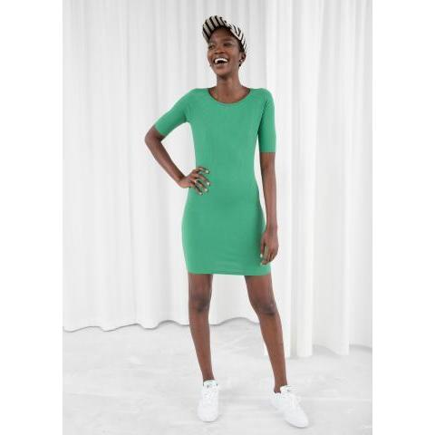 Ribbed Fitted Mini Dress - Green - Mini dresses - & Other Stories FR